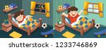 isolated vector. a little boy... | Shutterstock .eps vector #1233746869