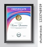 certificate and diploma... | Shutterstock .eps vector #1233748939