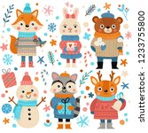 Stock vector set of cute cartoon christmas animals in hats and sweaters fox cub hare bear snowman raccoon 1233755800