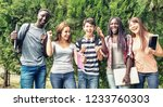 group of mixed races teenagers...   Shutterstock . vector #1233760303
