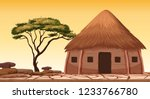 A traditional hut at desert illustration