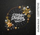 christmas poster with golden... | Shutterstock .eps vector #1233770743
