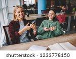 joyful caucasian hipster girls...   Shutterstock . vector #1233778150