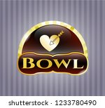 gold badge or emblem with love ... | Shutterstock .eps vector #1233780490