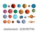 planets pixel art 80s style set.... | Shutterstock .eps vector #1233787750