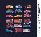 car and bus pixel art set.... | Shutterstock .eps vector #1233787759