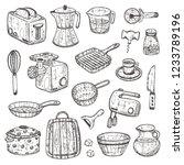 kitchen supplies set. hand... | Shutterstock .eps vector #1233789196