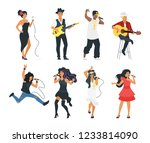 vector flat style young singer... | Shutterstock .eps vector #1233814090