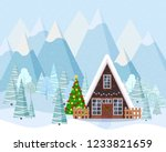 winter landscape with decorated ... | Shutterstock .eps vector #1233821659