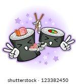 sushi cartoon characters giving ...