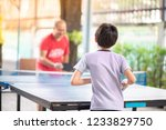 kid playing table tennis...   Shutterstock . vector #1233829750