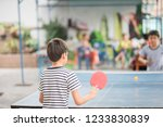 kid playing table tennis... | Shutterstock . vector #1233830839