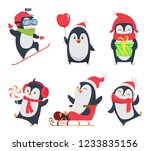 Stock vector penguin characters cartoon winter illustrations of wildlife animals in various action pose vector 1233835156