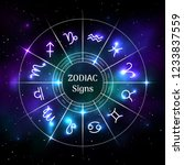 zodiac circle with astrological ... | Shutterstock .eps vector #1233837559