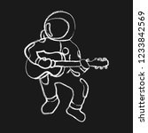 astronaut sitting with a guitar.... | Shutterstock .eps vector #1233842569