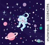 an astronaut sits and plays the ... | Shutterstock .eps vector #1233842596