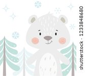bear baby winter print. cute... | Shutterstock .eps vector #1233848680