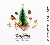 christmas greeting card. xmas... | Shutterstock .eps vector #1233858943