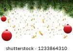 christmas fir border with fir... | Shutterstock .eps vector #1233864310