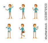 vector young adult woman in...   Shutterstock .eps vector #1233873523