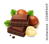 hazelnuts and chocolate pieces... | Shutterstock .eps vector #1233893419