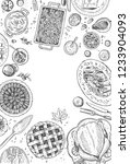 hand drawn christmas dinner ... | Shutterstock .eps vector #1233904093