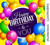 happy birthday greeting card.... | Shutterstock .eps vector #1233905893
