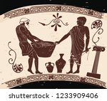 ancient greek mans. manager at... | Shutterstock .eps vector #1233909406