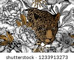 Stock vector leopard and peonies seamless floral pattern with animals and garden flowers modern decor beast 1233913273
