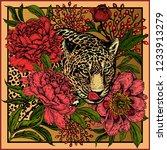 garden peonies and wild leopard.... | Shutterstock .eps vector #1233913279