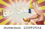 small shopping bag and womans... | Shutterstock . vector #1233919216