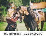 sweet adorable horse cuddle... | Shutterstock . vector #1233919270
