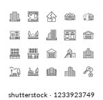real estate flat line icons set.... | Shutterstock .eps vector #1233923749