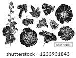 decorative malva flowers set ... | Shutterstock .eps vector #1233931843