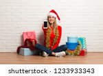 girl with christmas hat and...   Shutterstock . vector #1233933343