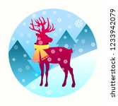 a deer with a scarf on a winter ... | Shutterstock .eps vector #1233942079
