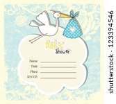 Stock vector baby shower card with copy space 123394546