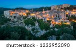 panoramic sight of sorano in... | Shutterstock . vector #1233952090