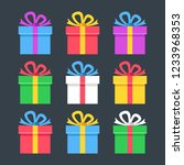 gift boxes flat icons. giftbox  ... | Shutterstock .eps vector #1233968353