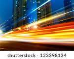 the light trails on the modern... | Shutterstock . vector #123398134