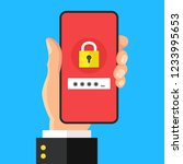 password on smartphone screen.... | Shutterstock .eps vector #1233995653