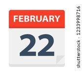 february 22   calendar icon  ... | Shutterstock .eps vector #1233998716