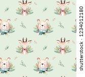 seamless watercolor merry... | Shutterstock . vector #1234012180