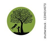 kids and big tree swing  vector | Shutterstock .eps vector #1234014073