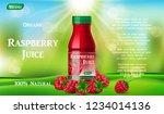 raspberry juice bottle on green ... | Shutterstock .eps vector #1234014136