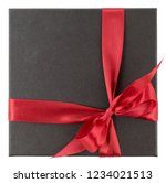 square gift box with red ribbon ...