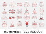 set with christmas decorations... | Shutterstock .eps vector #1234037029