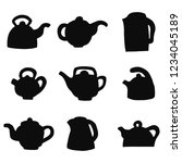 Teapots Silhouettes Vector...