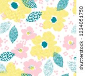 seamless pattern with flowers... | Shutterstock .eps vector #1234051750