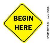 yellow diamond begin here sign...   Shutterstock . vector #1234056
